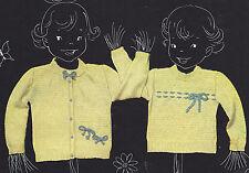 Vintage Crochet PATTERN to make Baby Toddler Sweater Set Cardigan Pullover Crew