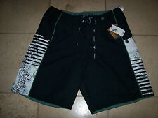NEW HOBIE BOARD SHORTS BOARDSHORTS swim trunks MEN Sz 30 Black white green