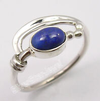 GIRLS' Jewelry, 925 Pure Silver NAVY BLUE LAPIS LAZULI 3 BALLS Ring Any Size