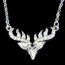 w Swarovski Crystal Bull ELK Hunt Hunting Antlers deer Horns Pendant Necklace