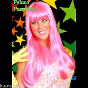 PINK Langhaar Perücke mit Pony Karneval Fasching GOGO