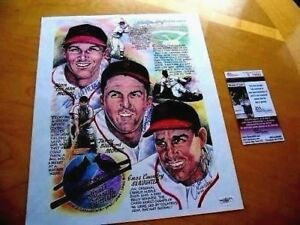 Stan Musial,Terry Moore,& Enos Slaughter Cardinals Signed Print/Photo -JSA LOA