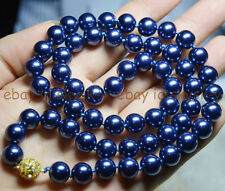AAA++ BEAUTIFUL 8mm DARK BLUE SOUTH SEA SHELL PEARL ROUND BEADS NECKLACE 25""