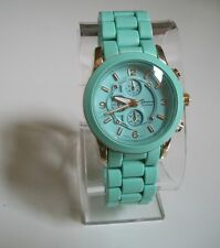 Gold/ Mint Green Designer Style Geneva Bracelet Fashion Inspired Boyfriend Watch
