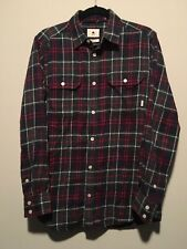 Burton Snowboards Flannel Shirt Mens Small Red Blue Green Plaid, Pre-Owned