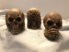 Set of 3 Mini Skulls, See Hear Speak No Evil - Polyresin Gothic Figurines - Nib