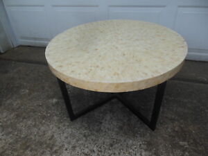 Pier ONE 1 Mother Of Pearl-Like Inlaid Mosaic Round Coffee Table Metal Base