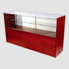 Retail Glass Display Case Half Vision Walnut 6' Showcase W/Led Light