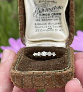 18ct Gold 5 Stone Diamond Ring Half Hoop Eternity Size M 1/2 1.9g