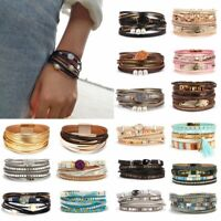 Charm Multi-layer Leather Magnetic Clasp Bracelet Bangle Wristband Lady Gifts