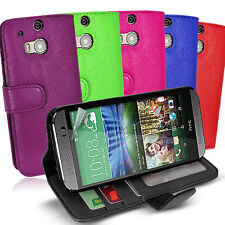 Side ID Wallet Leather Case Cover for HTC One M9 + Screen Guard