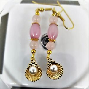 Pink Opal AAA Pink Brazil Gemstone Sea Shell Pearl Shell  Dangle Earrings