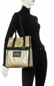 THE MARC JACOBS Ripstop Tote Contrast Signature Design in Gold ~DUST BAG ~NWT