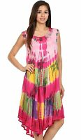 Womens Hippy Boho Summer Umbrella Pink Dress Sleeveless Viscose Top Free Size