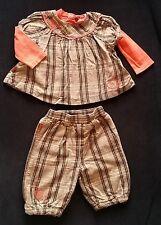 Ensemble haut carreaux marron saumon + Pantalon bébé fille 18 MOIS CATIMINI