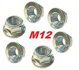 M12 x 1.25 BZP  Metric Fine Smooth Faced Locking Flange Nuts (Packs of 6)