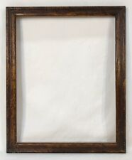Antique Early 20th C Folk Art Brown Sponge Painted Frame 8 x 10 Opening
