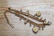 Dainty Gold Tone Pilgrim Charm Bracelet/Rhinestone/Beaded/Designer/Danish