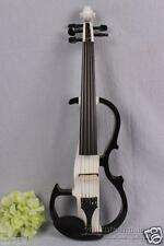 5 String Electric Violin Silent Bow Case Fiddle Solid wood White Black 4/4 #1655