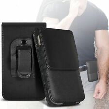 Black✔Quality Leather Excellent Protection Vertical Belt Phone Pouch Case Cover