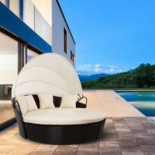Sofa redondo de exterior jardin o terraza VENECIA ratan con toldo blanco –McHaus
