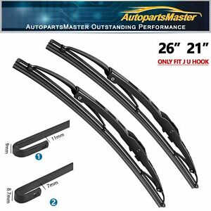 """26""""&21"""" Fit For ACURA MDX 2013-2007 Metal Frame Windshield Wiper Blades Set of 2"""