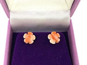 Vintage 9CT Yellow Gold Angel Skin Coral Carved Rose Stud Earrings