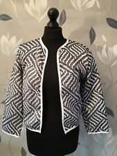 BOOHOO Black Open Jacket Size M UK 10 White Monochrome Casual Blazer NEW - 0224