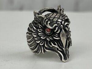 Vintage Sterling Silver Owl Bird Face Ring Bird Mens Biker Red Eyes Heavy Sz 9