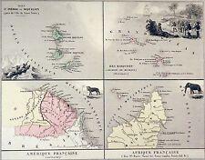 CARTE ANCIENNE: St.PIERRE & MIQUELON,ILES MARQUISES,GUYANE,COMORES - Gravure 19e