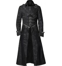 New Style Steampunk Gothic Black Leather Trench Coat For Men - Christmas Special
