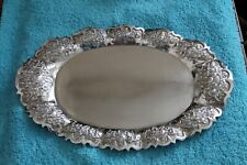 """Yogya  UD 800 Deluxe Silver Ornate Repousse Tray  Indonesia 11.5"""""""