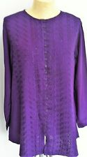 Purple embroidery anglaise Buttoned Tunic top Size 12 14 16 long sleeves    KN25