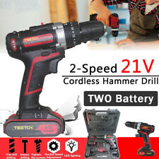 21V Lithium-Ion Electric Cordless 3 In 1 Hammer Drill Driver Screwdriver Set 30p