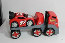 LITTLE TIKES Red Race Car Hauler Heavy Duty Semi-Truck