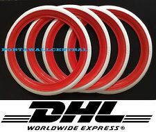 "ATLAS 16"" RED&WHITE WALL PORTAWALL TYRE TRIM SET 4PCS."
