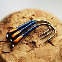 Holographic Blue/Orange Buzzers size 10 (Set of 3) Fly Fishing Flies Trout
