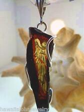 925 Silver Genuine Baltic Cognac Amber Intaglio Cameo Angel's Wing Pendant #61