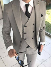 Designer Business Suit Grey Checked Suit Jacket Trousers Vest Fitted 54