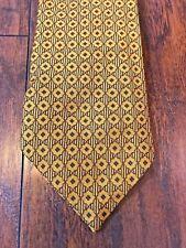 Vintage Wembley Tie Art Deco Yellow Green Brown Diamond Scallop Pattern