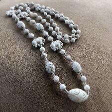 1920s Glass Necklace Neiger White 32in Czech Egyptian Revival Elephants