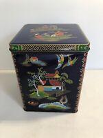 Daher Tin Asian Japanese Theme Hinged Tea Storage Container Box England VGC
