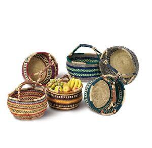 Bolga Einkaufskorb groß Afrika Ghana Tasche mit Henkel Seegras geflochten bunt