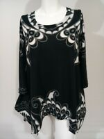 Philosophy Womens Gray black white stretchy  high-low shirt Tunic Top M festival