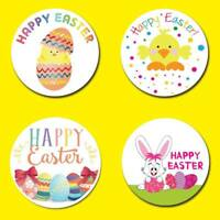 X 70 EASTER EGG ROUND SWEET CONE SEALS PARTY BAG HAMPER  STICKERS LABELS