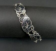 Vintage Siam Dancers Sterling 925 Silver Link Bracelet 7 1/4 Inches Long