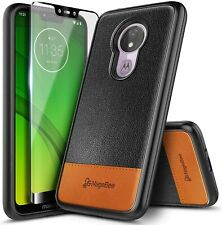 For Motorola Moto g7 Optimo Maxx Case Shockproof Leather Cover + Tempered Glass