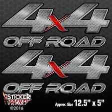 "4x4 ""DIAMOND PLATE OFF ROAD"" 2 Pack Decal vinyl Chevy Silverado GMC Sierra truck"