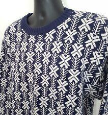 Men Vtg L Nordic Abstract Sweater Blue White Cotton Kettle Creek Canvas Co 80s