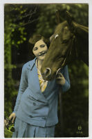 c 1930 Glamor Glamour French YOUNG BEAUTY w/ HORSE equestrian photo postcard